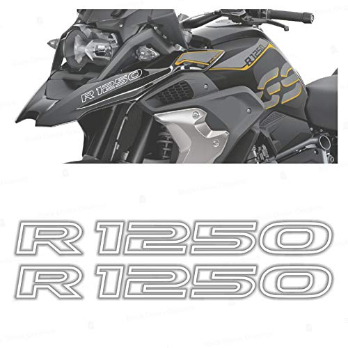 2pcs Adhesivo R1250 Compatible con BMW Motorrad R1250 GS Adventure R 1250 HP 2019 (White)