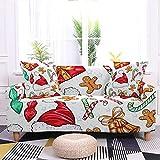 WXQY Funda de sofá de Navidad con Estampado de Papá Noel de Dibujos Animados Funda de sofá elástica Funda Protectora de Silla de Navidad A4 1 Plaza