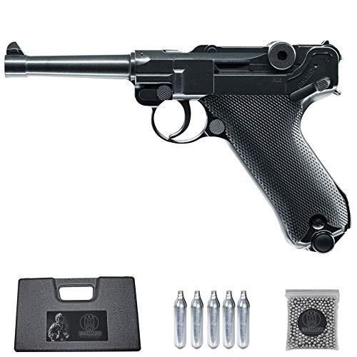Ecommur. Legends P08 Tipo Luger Alemana| Pistola de perdigones (Bolas BB's de Acero) de Aire comprimido semiautomática 4,5mm + maletín + balines y CO2