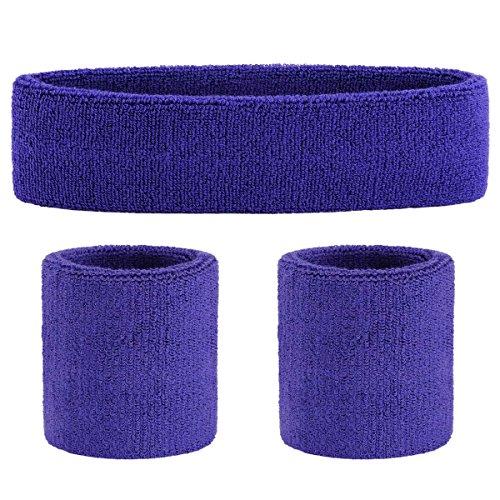 ONUPGO Purple Sweatband Set Sports Headband Wrist Striped Sweatbands Terry Cloth Wristband Athletic Exercise Basketball Wrist Sweatband and Headbands Moisture Wicking Sweat Absorbing Head Band