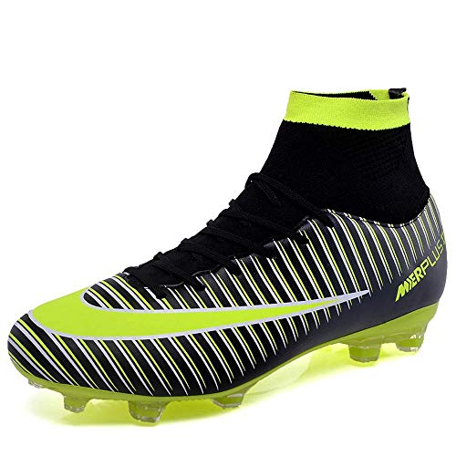 HeLenRed Men's Soccer Shoes Football Sneakers Soccer Cleats Fashion Outdoor Soccer Boots Black
