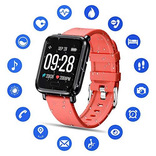 Tipmant Smartwatch Fitness Armband mit Pulsmesser Blutdruckmessung Fitness Tracker Wasserdicht IP68 Fitness Uhr Schrittzähler Pulsuhr Sportuhr für Damen Herren Kinder ios iPhone Android Handy (Rot)