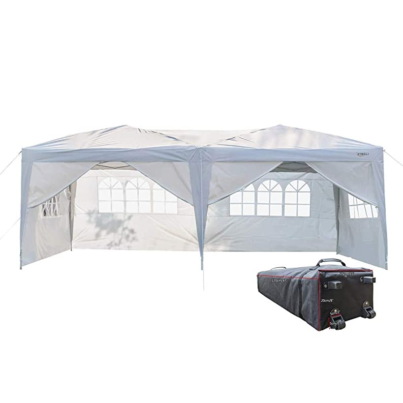 VINGLI 10'x20' Ez Pop Up Canopy Tent with 6 Removable Sidewalls Panels,Folding Instant Wedding Party Outdoor Commercial Event Gazebo Pavilion W/ Portable Rolling Carrying Bag,White