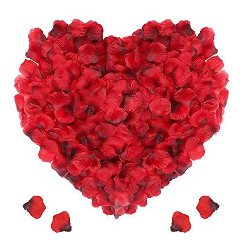 Punvot rosenblätter deko, 3000 Stück Rosenblüten Seide Rosenblätter Rot Rosen Blätter Blüten Dekoration für Romantische Atmosphäre Hochzeit Deko, Geburtstag Party, Valentinstag, Muttertag, Datierung