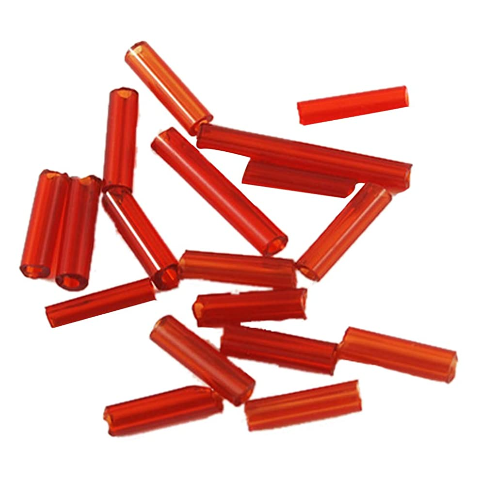 PandaHall Elite 1 Pound 6mm Long Beading Glass Bugle Seed Beads Tube Spacer Bead with 0.6mm Hole for Earring Bracelet Pendant Jewelry DIY Craft Making, Red