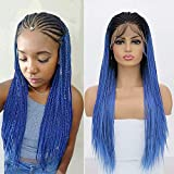 RDY 180% Density Dark Roots Ombre Blue Box Braids Lace Front Wigs for Black Women Hand Tied Braided Wig Glueless Pre Plucked Micro Braids Synthetic African Replacement Hair 24 Inch