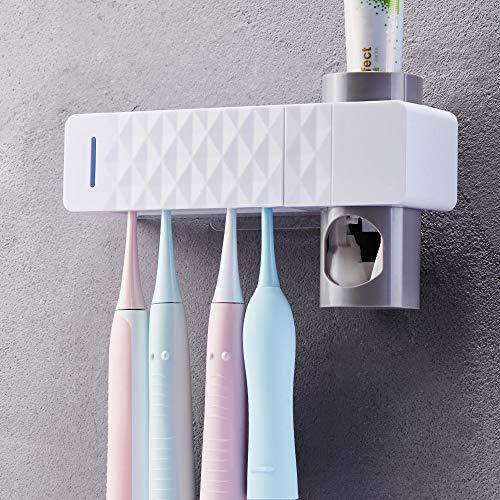 SUNJULY - Dispenser di dentifricio e portaspazzolino con sterilizzatore UV USB, supporto per spazzolino da denti, 5 pezzi, decorazione da parete, regalo ideale per la famiglia