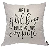 AOYEGO Just A Girl Boss Building Her Empire Throw Pillow Cover Quote Slogan Chic Saying Words Phrase Pillow Case 18x18 Inch Decorative Men Women Boy Girl Room Cushion Cover for Home Couch Bed