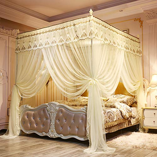 JQWUPUP Elegant Bed Curtains Canopy, Embroidery Lace 4 Corner Post Mosquito Net, Princess Bed Canopy for Girls Kids Adult Toddlers Crib, Bedding Décor (Queen, Yellow)