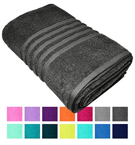 Lashuma - Toalla de baño o playa XXL London en 14 colores, color liso, tamaño grande de 100 x 150 cm, 100 % algodón, gris, 100 x 150 cm