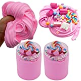 SWZY Cotton Candy Slime Rosa Fluffy Cloud Slime Forniture Giocattolo di Rilievo di Stress profumato Fai da Te Stucco Giocattolo di Fango per Ragazze e Ragazzi 8 OZ. (120 ml * 2)