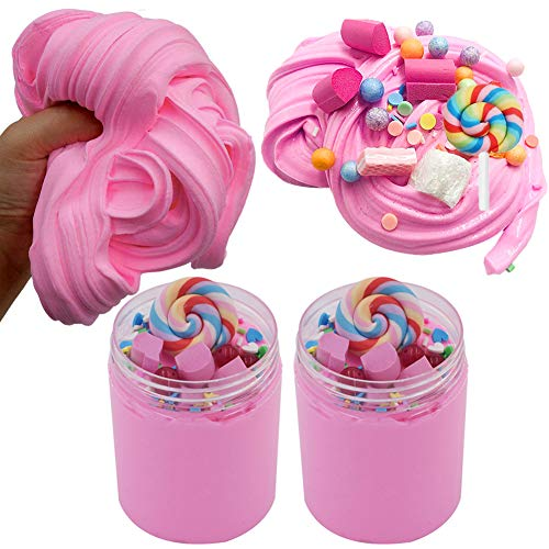 SWZY Cotton Candy Slime Rosa Fluffy Cloud Slime Suministros Stress Relief Toy Perfumado Masilla de Bricolaje Juguete para Lodos para niñas y niños de 8 oz. (120ML * 2)
