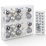 Yorbay 44pcs bolas de navidad de cristal, 20x 5cm y 24x 2cm bolas de árbol de navidad, adornos de navidad decoracion, plata y blanco