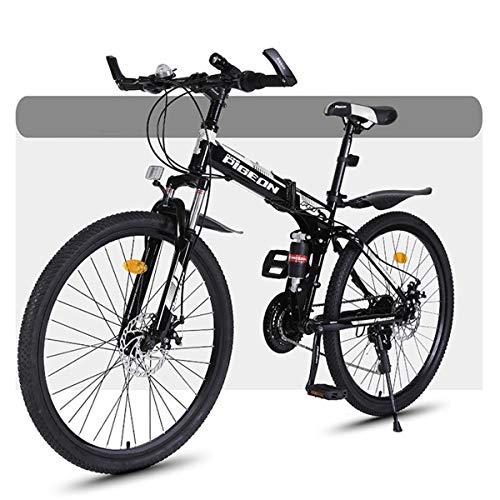 Bicicleta Montaña MTB Bicicleta De Montaña, Bicicletas De Montaña Plegable Duro-cola, El Marco De Acero Al Carbono, De Doble Suspensión Y Freno De Disco, 26 Pulgadas Ruedas Bicicleta de Montañ