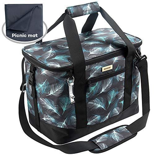 Kaome Kühltasche mit Picknick-Decke, Große Lunch-Tasche,Zusammenklappbare Picknicktasche, Auslaufsichere Picknick-Tasche mit abnehmbarem Schultergurt für Camping und Picknick mit der Familie