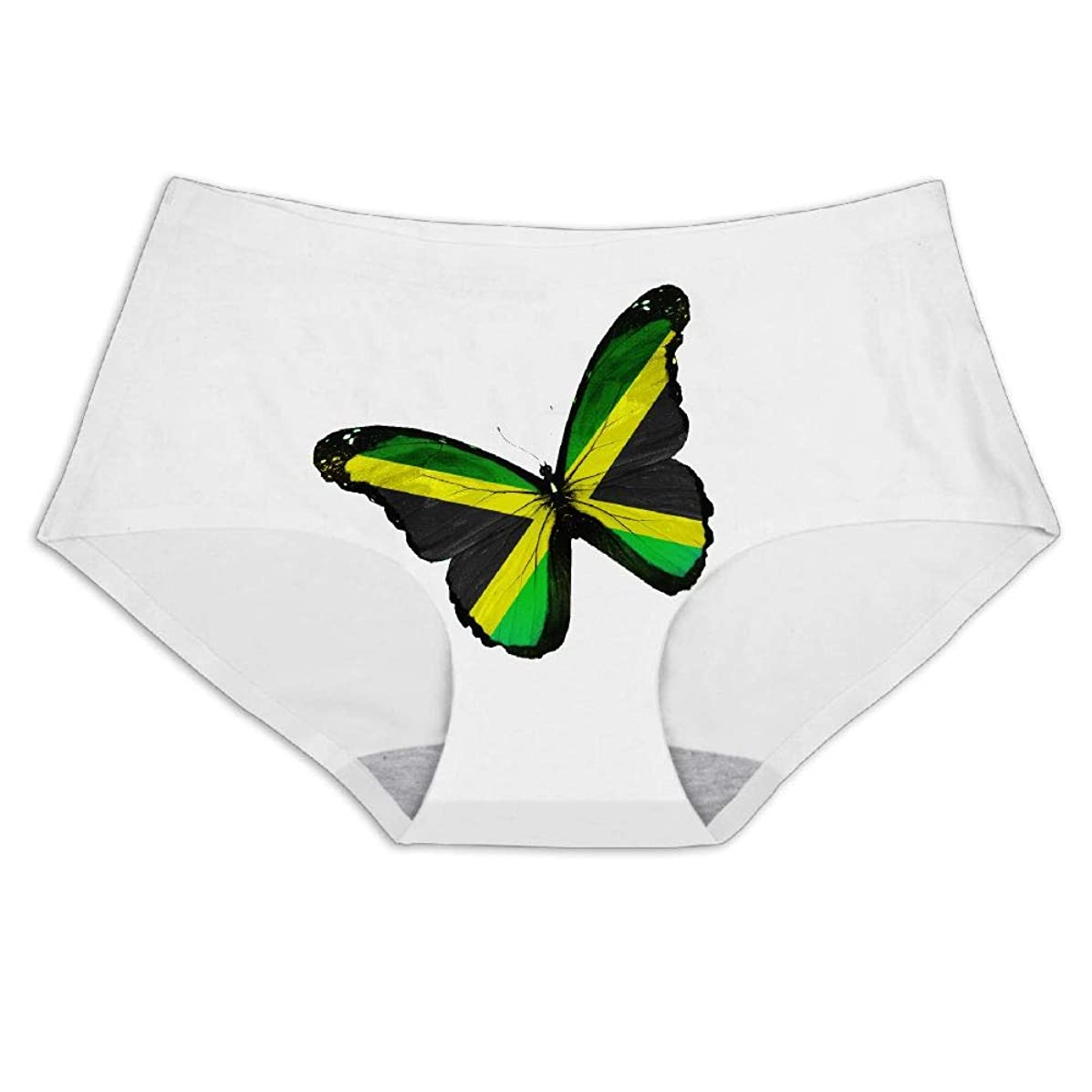 Women's Jamaican Flag Butterfly Smooth Breathable Ice Silk Underwear Soft Briefs Invisible Panties