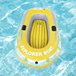 Inflatable Boat, PVC Folding Inflatable Kayak Canoe 2 Person Rowing Air Boat for Fishing Drifting Diving 12 ✔✔【HIGH QUALITY MATERIAL】This boat adopts good quality PVC material, thickness up to 0.3mm, airtight and wear-resistant.The Extra comfortable inflatable seat and the adjustable inflatable backrest provide super support and comfort for long fishing days. Easy to find the most comfortable Backrest angle for enjoying the greatest fishing pleasure. ✔✔【HIGH LOAD-BEARING & GREAT BUOYANCY】Our fishing boat has great buoyancy, allowing you to fish safely and smoothly in the lake. Heavy duty, suitable for two persons to use, load bearing is up to 90kg.The series design is based on safety and reliability. ✔✔【CONVENIENT TO CARRY】Double valve design is good for fast inflation and deflation.The two-way valves allow you to control the air entering and leaving the air bladder.Inflatable design, easy to fold for convenient storage and transportation.With two paddle mounts, can hold paddle for labor-saving paddling.