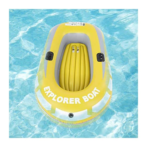 Inflatable Boat, PVC Folding Inflatable Kayak Canoe 2 Person Rowing Air Boat for Fishing Drifting Diving 5 ✔✔【HIGH QUALITY MATERIAL】This boat adopts good quality PVC material, thickness up to 0.3mm, airtight and wear-resistant.The Extra comfortable inflatable seat and the adjustable inflatable backrest provide super support and comfort for long fishing days. Easy to find the most comfortable Backrest angle for enjoying the greatest fishing pleasure. ✔✔【HIGH LOAD-BEARING & GREAT BUOYANCY】Our fishing boat has great buoyancy, allowing you to fish safely and smoothly in the lake. Heavy duty, suitable for two persons to use, load bearing is up to 90kg.The series design is based on safety and reliability. ✔✔【CONVENIENT TO CARRY】Double valve design is good for fast inflation and deflation.The two-way valves allow you to control the air entering and leaving the air bladder.Inflatable design, easy to fold for convenient storage and transportation.With two paddle mounts, can hold paddle for labor-saving paddling.