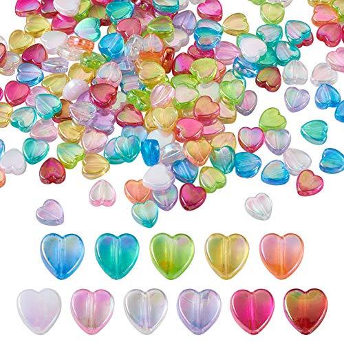 PandaHall 660 cuentas de acrílico con forma de corazón de 8 x 8 x 3 mm, color AB, espaciador, cuentas sueltas con agujero de 1,5 mm para collares, pulseras, pendientes, bricolaje, bisutería.
