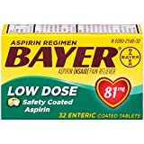 Aspirin Regimen Bayer 81mg Enteric Coated Tablets, #1 Doctor Recommended Aspirin Brand, Pain Reliever, 32 Count