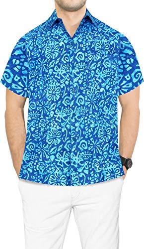 LA LEELA Hawaiano de Vacaciones de Camisa Hawaiana Partido del Macho de Trabajo Formales de los Hombres Casuales L-Pecho Contorno (in cms):111-121 Azul_AA168