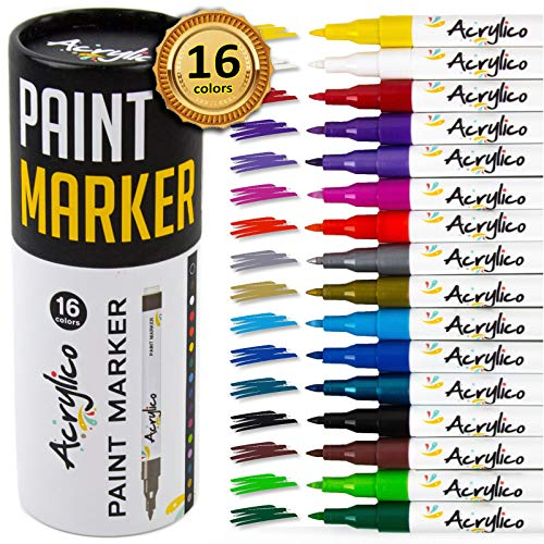 Acrylico Markers Set of 16 Colors Acrylic Paint Markers. Extra Fine Tip Paint...