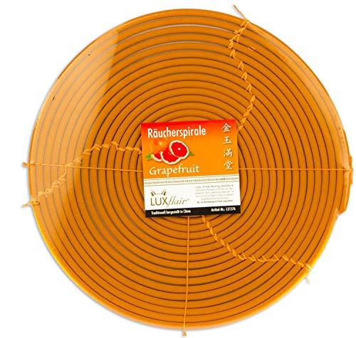 Luxflair 72 Std / 3 Tage Räucherspirale mit wohligem Grapefruit-Duft für Draußen, Ø 330mm. Alternativ zur Duftkerze. Ideal zum Wohlfühlen im Freien
