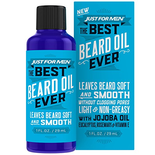 Just For Men The Best Beard Oil Ever, Supports Growth, Made with Vitamin E, Eucalyptus, Rosemary, and Jojoba Oil, Smoothes and Softens without clogging pores, 1 Fluid Ounce