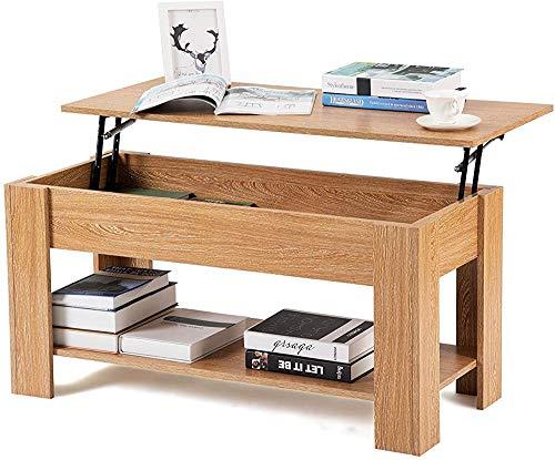 El té puede elevar la mesa de café de alta gama, con la mesa de sofá de la mesa de almacenamiento y el estante para el dormitorio informal de la sala de estar,Oak color