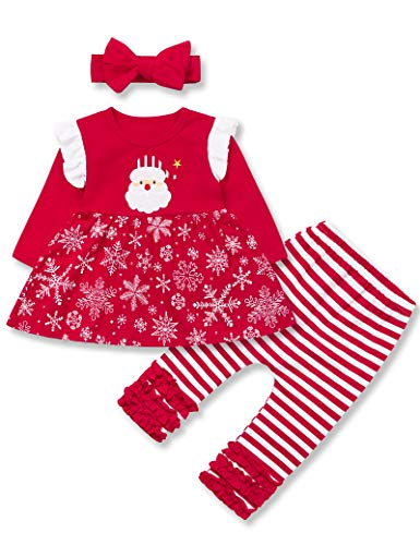 Toddler Baby Girls Christmas Outfit Infant Girls Christmas Dress Christmas Eve Girl 3PC Set 18-24 Months Red