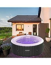 Arebos Whirlpool PALMA met LED-verlichting | 6 kleuren | opblaasbaar | rond | binnen en buiten | 4 personen | 130 massagejets | met verwarming | 1.000 liter | incl. afdekking | Bubble Spa & Wellness Massage