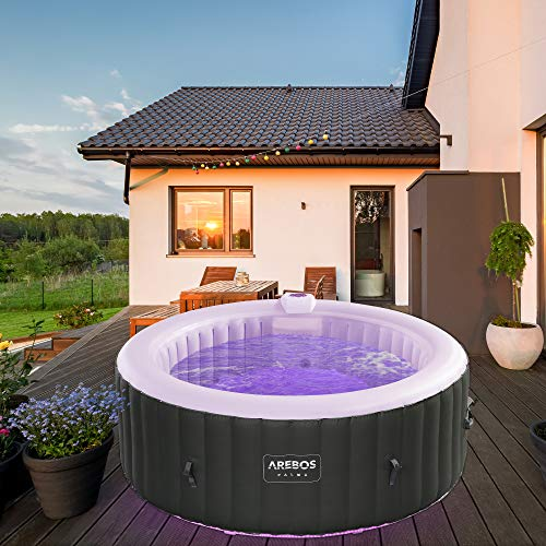 Arebos Whirlpool Palma mit LED-Beleuchtung | 6 Farben | aufblasbar | rund | In- & Outdoor | 4 Personen | 100 Massagedüsen | mit Heizung | 800 Liter | Inkl. Abdeckung | Bubble Spa & Wellness Massage