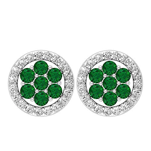 Rosec Jewels 10 quilates oro rosa redonda round-brilliant-shape H-I Green Diamond Zafiro azul Leb creado