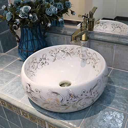 Rjbzd Europa Stil chinesischen Waschbecken Waschbecken Jingdezhen Art Counter Top Keramik Waschbecken Waschbecken bemalt Porzellan Waschbecken