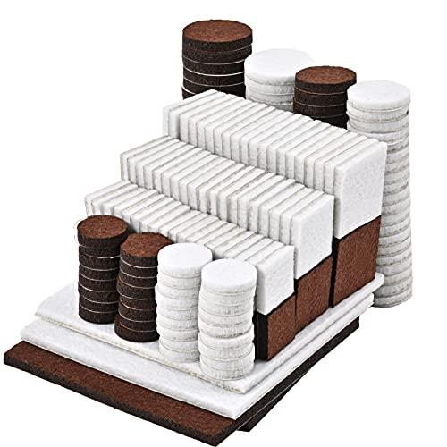 Almohadillas de fieltro autoadhesivas – 244 unidades redondas, cuadradas, marrón oscuro, blanco cinta adhesiva fuerte para alfombras, almohadillas sillas, protección del suelo, color y oscuro