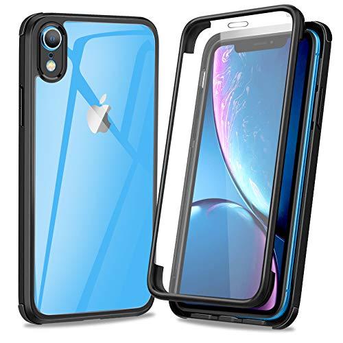AROYI Funda Compatible con iPhone XR, 360 Grados Transparente Antigolpes de Protección Integral híbrido con Protector de Pantalla Integral Integrado Silicona Bumper Carcasa