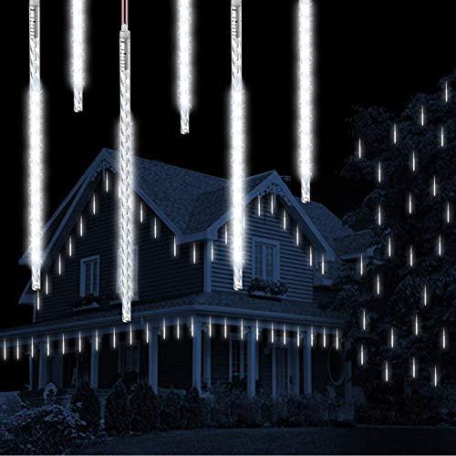 Météor Douche Goutte De Pluie Lumières, Vikdio 50cm 10 tubes en spirale 540 LEDs Imperméable Neige Chute Lumières pour Noël Halloween Jardin Arbre Décor, Soutien 2 ensembles crochet (Blanc)