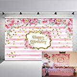 Fondo senza cuciture di fotografia della doccia di bambino dei contesti della foto della banda rosa e bianca di 7x5ft del contesto di compleanno di Mehofoto
