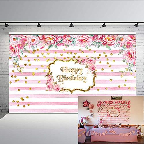 Mehofoto cumpleaños telón de fondo 7x5ft rayas rosa y blanco telones de fondo de fotos florales fondo de fotografía de ducha de bebé sin costuras