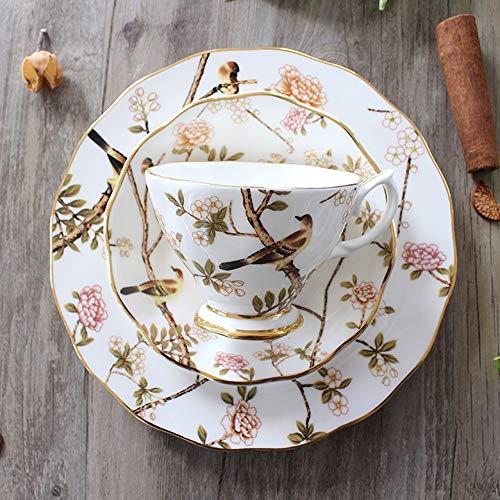 SXXYTCWL Patrón exquisita taza de té, Taza de café y platillo Conjunto de capuchino, té, chocolate caliente, leche, 200 ml de capacidad Durable Bone China Material con la manija de Diseño (rosa, azul,