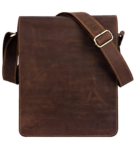Kattee Vintage Cow Leather Flapover Messenger Bag Fit 10' Laptop (Brown, Large)