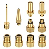 Valve Adapter Set, 10Pcs Bike Car Pump Adapter Kit Lightning Valve Sclaverand Ball Pump for Bicycle SV AV DV