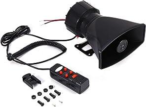 EVGATSAUTO 5-Sound Tone 300db Car Loud Horn, Universal Car Van Truck Megafoon Loud Air Horn Siren PA MIC Speaker Zwart