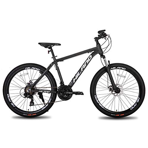 Hiland 26 Inch Mountain Bike for Men with 19.6 Inch Aluminum Gray