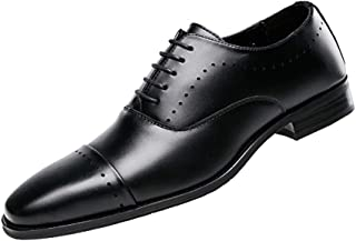 GYUANLAI Men's Leather Shoes Oxford Leather Strap Classic Comfort Modern Formal Business Dress Rubber Wear Leather Shoes