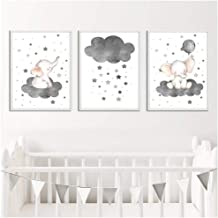 Zhaoyangeng Cartoon Olifant Ballon Cloud Poster Dier Kwekerij Art Print Muurfoto Canvas Schilderij Babykamer Decoratie - 4...