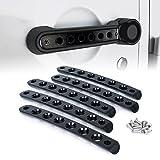 Xprite 5 Pcs/Sets Brushed Aluminum Door Grab Handle Inserts Cover Trim for 2007-2018 Jeep Wrangler JK & Unlimited 4 Door-Black
