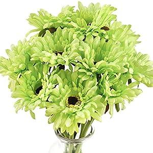 FiveSeasonStuff Gerbera Daisy, Outdoor Artificial Silk Flowers Arrangement & Wedding Bouquet (10 Floral Stems, Spring Meadow Green)