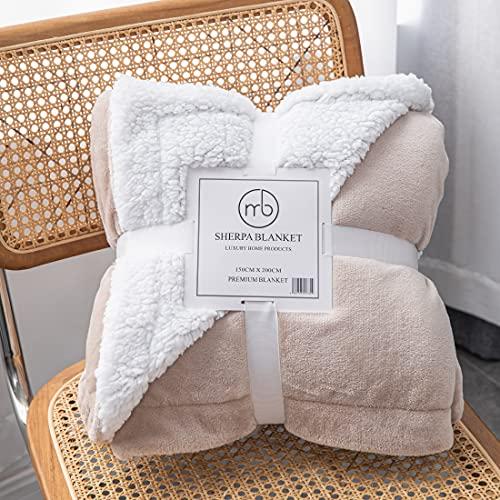 Mixibaby Hochwertige Wohndecken Kuscheldecken, extra Dicke warm Sofadecke/Couchdecke, Größe:150 cm x 200 cm, Farbe:Beige