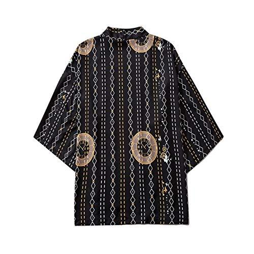 Europeo del Verano Y De La Flor Americana Kimono Étnica 3D Manga del Cuarto De La Impresión De La Raya Floja De La Camisa...